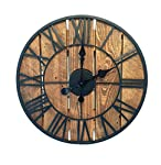 Wooden Rustic Clock with Metal Roman Numerals 40cm