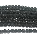 #7: Beadsnfashion Jewellery Making Faceted Glass Round Beads Black 10 mm, Pack of 1 String of 13 Inch