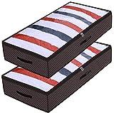 homyfort 2 Stück Unterbetttasche, Kleideraufbewahrung, Unterbett-Aufbewahrungstasche für Bettdecken, Kleidung Lagerplätze, Decken Organisator Lagerbehälter, 90 Liter, 100 x 50 x 18 cm, Braun, X3KR100L