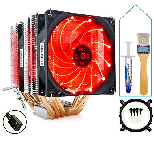SMOEE CPU Kühler Kühler Hell und leise 6 Kupferrohr 2 Lüfter 3Pin-Schnittstelle Kompatibel mit Intel AMD Dual Platform