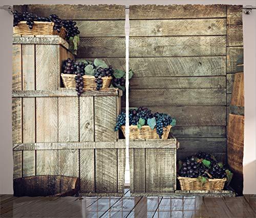 ABAKUHAUS Weinberg Rustikaler Vorhang, Hölzerner Efeu Florals, Wohnzimmer Universalband Gardinen mit Schlaufen und Haken, 280 x 175 cm, Lila Braun