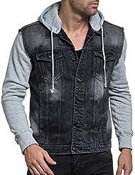 BLZ jeans - Veste homme stylé en jean noir délavé et manche grise