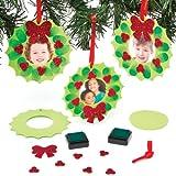 """Bastelset für Deko-Anhänger """"Weihnachtskranz"""" mit Fingerabdruck und Fotorahmen für Kinder zum Selbermachen, Dekorieren und individuellen Gestalten (6 Stück)"""