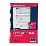 """Money/Rent Receipt Bk, Spiral, 2-Part, 7-5/8""""x11"""", 200/BK"""