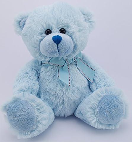 Teddy Bear 11inch Soft Toy – Traditional Plush Blue Teddy Bear with Bow