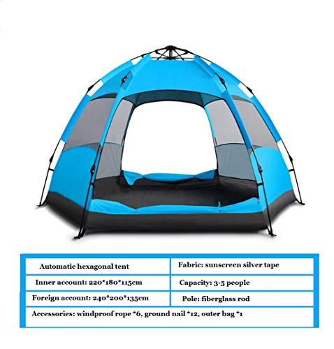 Tragbare Und Wasserdichte Instant-Pop-Up-Rucksack Zelt 3-5 Personen Im Freien Regen Camping, Ideal Für Picknicks, Wandern, Strände, Angeln, Reisen,Blue (Instant Zelte)