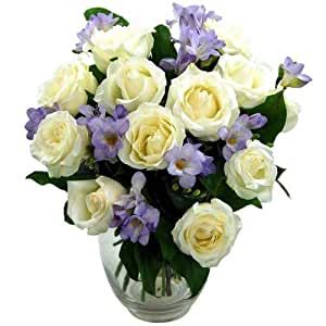 Clare Florist Breathtaking Amethyst Bouquet Rose and Freesia Fresh Flowers Perfect for Birthdays, Anniversaries and Thank You Gifts