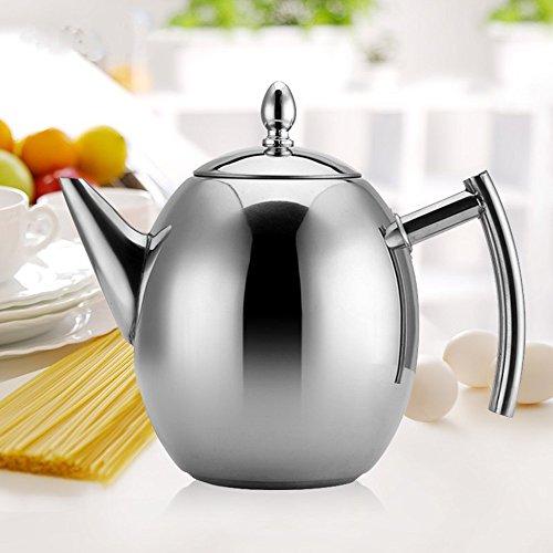 Haosen 1L Teekanne edelstahl mit Siebeinsatz Kaffeekanne - Kein Magnet Oliven-Kaffeekanne Teekanne mit sieb (Silber)