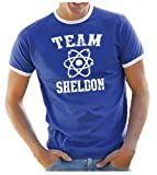 Coole-Fun-T-Shirts T-Shirt Team Sheldon - Big Bang Theory ! Vintage Ringer, blau, S, 10746_blau_RINGER_GR.S