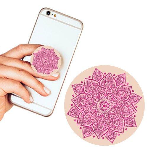 Pop Phone Grip ausziehbarer Ständer Multifunktionaler Smartphone-Halter Universal Telefon Finger hands Socket Halterung - Rosa Mandala(Farbe Blumen)