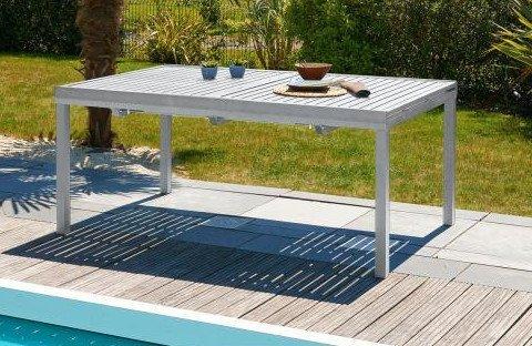 DCB GARDEN ORLANDO-TB240 Table alu avec rallonge Automatique Gris Galet 180/240, 180x110x73 cm