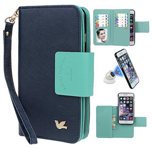 """xhorizon MSH Folio Case Cuir de bonne qualité,Portefeuille Coque pour iPhone6 plus/6S plus magnétique détachable avec Logements de Carte, [5.5""""] fermoir aimanté bleu foncé avec support de voiture sphéricité"""