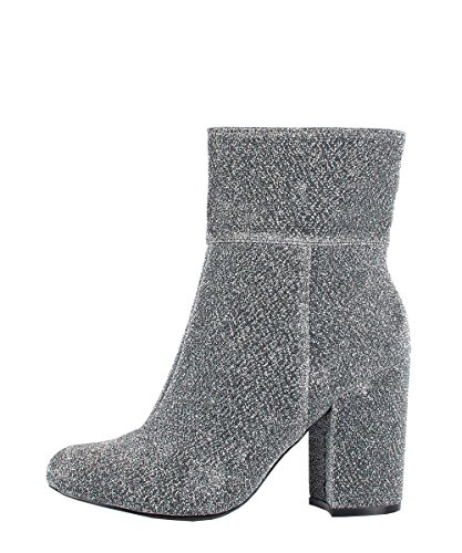 Steve Madden Goldeeee Silver Fabric Boots - Stivaletti Argento In Stoffa
