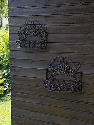 Paar Wandkorb Wandregal Regal Eisen Garten Gartenregal antik Stil garden braun von aubaho bei Du und dein Garten