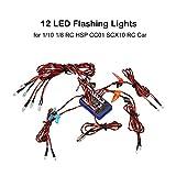 Footprintse 12 Ultra LED blinkt helle Licht Strobe Lampen Kit System für 1/10 1/8 RC Drift HSP Tamiya CC01 4WD axiale SCX10 RC Auto LKW