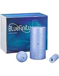 Bluefinity Massagerolle 3er Set für Einsteiger, Selbstmassagerolle verschiedene Größen und Formen, Faszienrolle für Faszientraining, gegen Verspannungen, Fitnessrolle zur Selbstmassage, blau