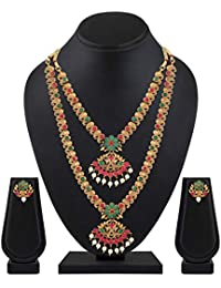 Shining Diva Fashion Latest Combo Design Pearl Necklace Set for Women Traditional Gold Plated Jewellery Set for Women (Multicolor) (10592s)