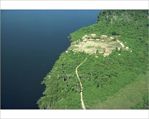 photographic-print-of-aerial-of-a-xingu-village-and-path-beside-a-river-in-brazil-south-america