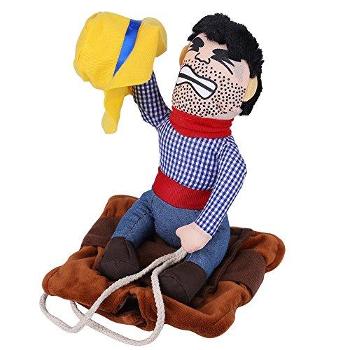 ostüm lustige Cowboy Reiter Kleidung Hunde Outfit Ritter Stil Kleidung mit Puppe und Hut für Halloween Cosplay Party(XL) ()