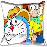 Nobita y Doraemon Fashion con cremallera manta fundas de almohada–dibujos animados sofá almohada, decorativo algodón fundas de almohada