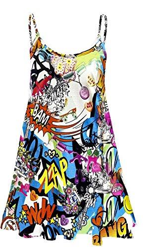 Fashion 4 Less Robe trapèze avec imprimé Taille 36 à 50. Bang