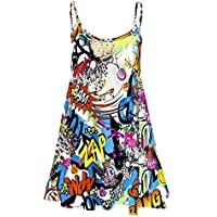 Fashion 4Less Nuovo Donna Plus Size Cami Stampato Abito Swing Top. UK 8–26