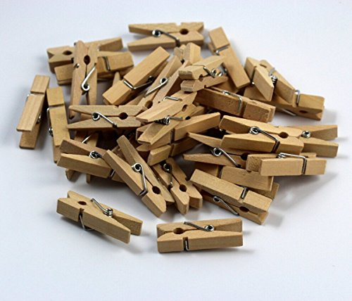 chengyida 50Pack 35mm Mini Holz Wäscheklammern Natur Craft Baby Dusche Kleidung Pin Line Schirmhaspel (Wäscheklammern Für Baby-dusche)