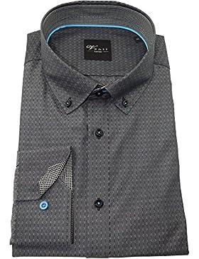 Venti Herrenhemd slimfit anthrazit gestreiftes Hemd langarm Button-Down Kragen ohne Tasche Kollektion Size 40
