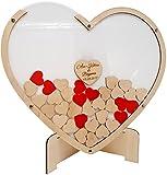 Manschin Laserdesign Gästebuch aus Holz und Acrylglas zur Hochzeit, personalisiert, Wunschgravur, Wunschfarbe inkl. Herzen (Hintergrundfarbe Weiß, XXL (53x60cm (ca. 140 Herzen)))