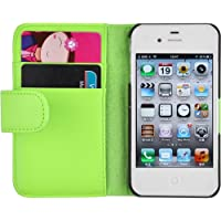 iPhone 4 Hülle, JAMMYLIZARD Ledertasche Flip Cover für iPhone 4 und 4s, GRÜN