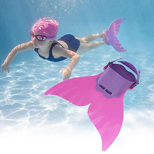 HAMKAW Meerjungfrau-Schwimmflossen für Kinder, Schwimmen Monofin mit Fußflossen, Tauchflossen für 8-15 Jahre, buntes Schwimm-Bikini-Kostüm, Badeanzug, Schnorchelschuhe, Froschschuhe, Violett, Rose