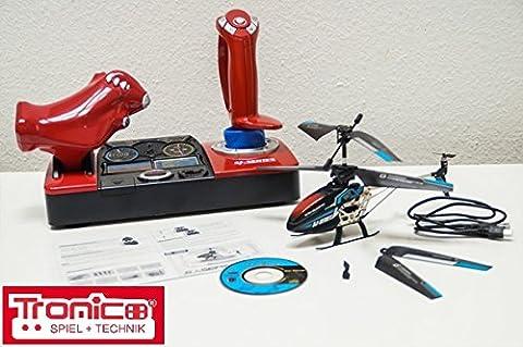 Tronico 2,4 Kanal RC Helikopter, Hubschrauber, Musik+Sound, LED-Ambiente, 2,4 GHz Cockpit-Steuerung, leicht zu fliegen durch neuste Gyroscope Technik, Heli-Modell, Ready to Fly, Alu, Komplett-Set, Izzy Sport