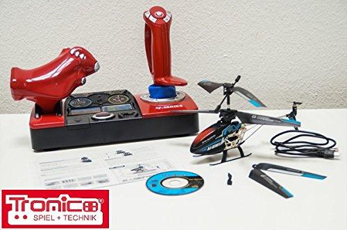 Preisvergleich Produktbild Tronico 2,4 Ghz RC Helikopter, Hubschrauber, Musik+Sound, LED-Licht, Cockpit-Steuerung, leicht zu fliegen durch neuste Gyroscope Technik, Heli-Modell, Ready to Fly, Alu, Komplett-Set, Izzy Sport