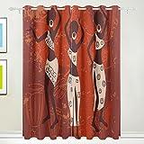 Coosun africain Art Fond Rideaux occultant occultant Isolation thermique Polyester Grommet Top Store Rideau pour chambre à coucher, salon, 2Panel (55W X 84L pouce)