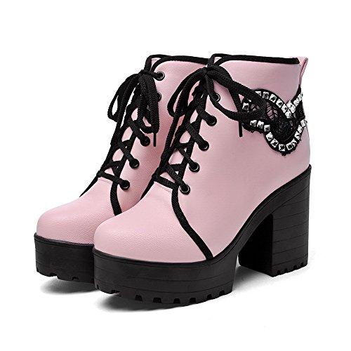 VogueZone009 Damen Rein Hoher Absatz Rund Zehe Pu Leder Schnüren Stiefel Pink