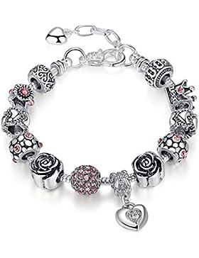 Neue Mode Schmuck Armschmuck,Silber Vergoldet Armband Rosa Königin Charm,Geschenk für Damen Mädchen,Einstellbar