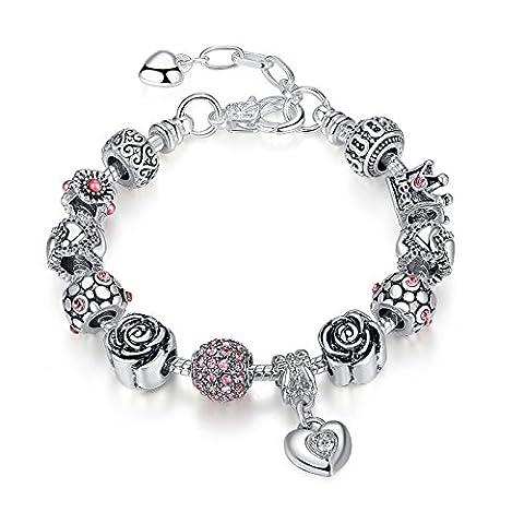 Breloque Bracelet Fantaisie Femme -Rose Cristal Reine Charm-Bijoux Cadeau pour Fête Des Mères