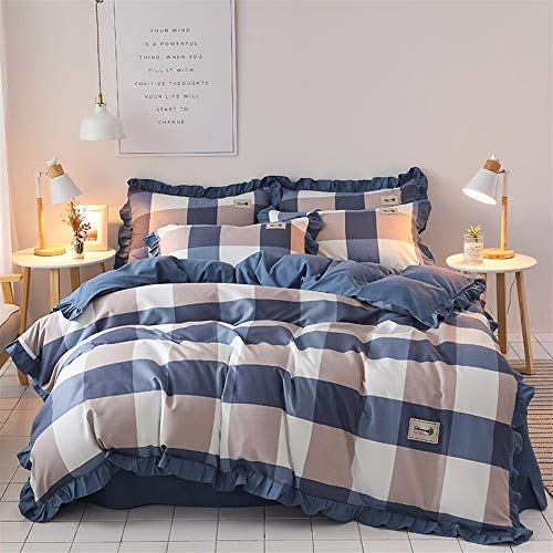 UOUL Bettwäscheset Baumwolle 4-teilig Verblasst Nicht Comfort Knit Plaid Navy Youth Hostel Sommer Schlafzimmer Twin,Navy Plaid,Full\Queen (Plaid Bettbezug Navy)