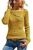 Yidarton Damen Strick Sweatshirt Langarm Asymmetrische Ausschnitt Bluse Oberteile Tunika Strickpullover T-Shirt (Small, Gelb)