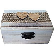 MagiDeal Caja de Madera de Anillos de Novios Sostenedor de Anillo de Ceremonia de Boda Caja de Joyería con Musgos Secados Removibles - Corazón