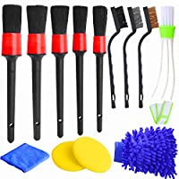 Hicdaw 13Pcs Detailing Brush Set Car Detailing Kit for Auto Detailing Cleaning Car Motorcycle Interior, Exterior,Leather, Air Vents