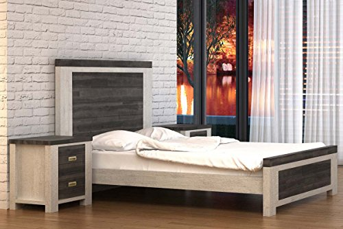 Chelford White / Ash Modern Farmhouse Rustic Handcrafted Wooden Bed Frame by Sleep Design (King)