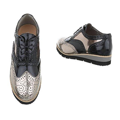 Ital-Design Schnürer Damenschuhe Oxford Schnürer Schnürsenkel Halbschuhe Silber Grau LL101