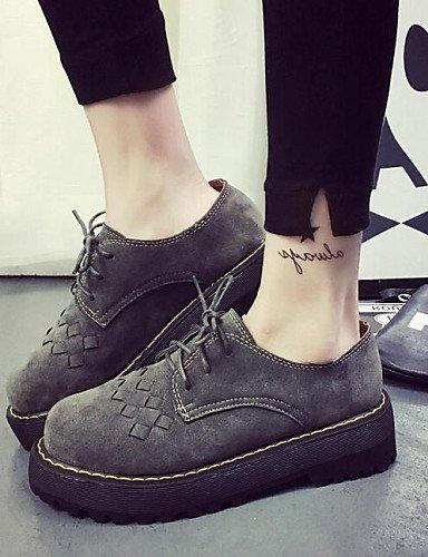 ZQ hug Scarpe Donna-Sneakers alla moda-Formale / Casual-Comoda / Punta arrotondata-Plateau-Finta pelle-Nero / Grigio , gray-us8 / eu39 / uk6 / cn39 , gray-us8 / eu39 / uk6 / cn39 gray-us6 / eu36 / uk4 / cn36