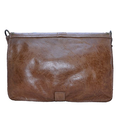 BORDERLINE - 100% Made in Italy - Echtes Leder Damen Tasche - Vintage Style - LUISA - Lederfarbe