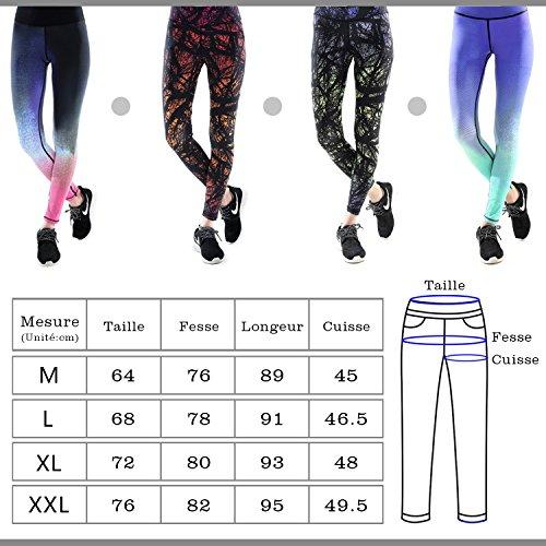 Das leben Legging de Sport Femme Pantalon de Sport Multicolore Fantastique pour Course Yoga Pilate Gymnase Bleu fantastique