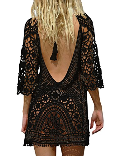 BAISHENGGT Femme Mini Robes de Plage Tunique Pull Kimono Bohême Mode Dos Nu Bikini Cover Up Crochet Blouse Noir One Size Convient à S-M