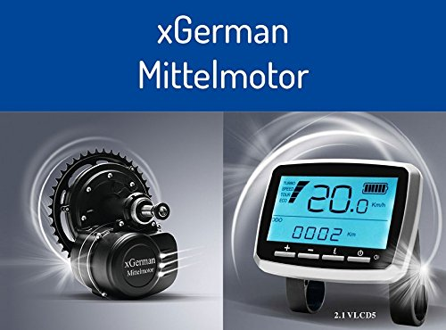 GermanXia xGerman Nachrüstsatz Mittelmotor-Antrieb 250W/36V mit Samsung Trinkflaschen-Li-Ionen-Akku 11,6 Ah - Achtung einziger Anbieter, alle andere sind Häcker.
