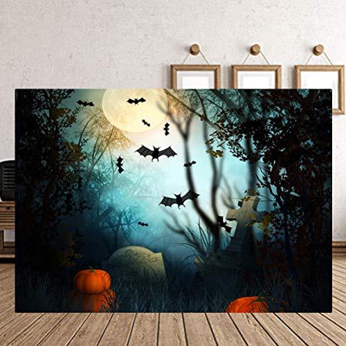 150x200cm Halloween Foto Kulisse, 3D gruselige Horror realistische Foto Hintergrund Fledermäuse Kürbis Grab Hintergrund Wandbild Studio Prop