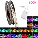 Led Strip, GLISTENY 50-200CM Strip Light 5050 RGB SMD Waterproof IP65 Decorative Flexible Lights String Battery Box for TV Backlight Desktop Bedroom Home Christmas Lighting 50cm 15LED